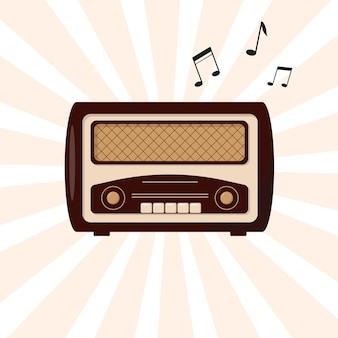 Radio w stylu retro. vintage radio i latające nuty.