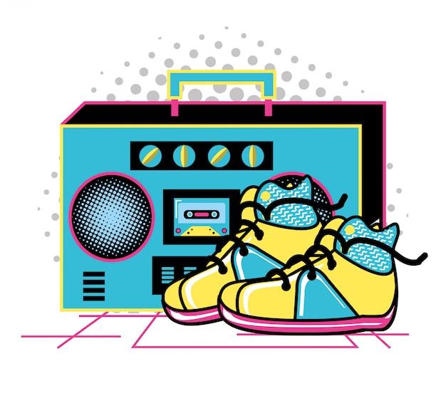 Radio z butami z lat dziewięćdziesiątych retro