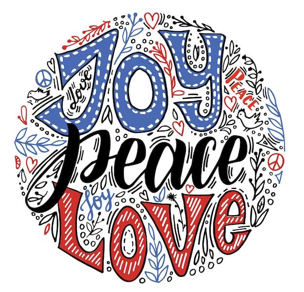 Radość pokoju miłości. wektor ręcznie napisane kartki świąteczne pozdrowienia wieniec kwiatowy