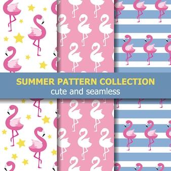 Radosna letnia kolekcja wzorów. motyw flaminga, transparent lato. wektor