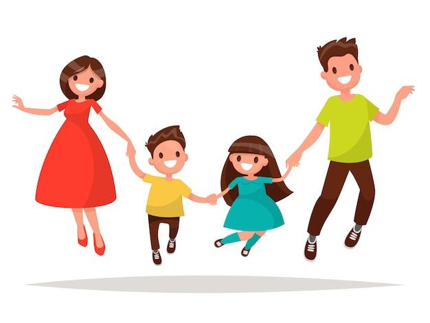 Radosna rodzina skacze. tata mama córka i syn trzymając się za ręce podskoczyli.