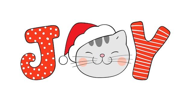 Radosne boże narodzenie ilustracja kotek