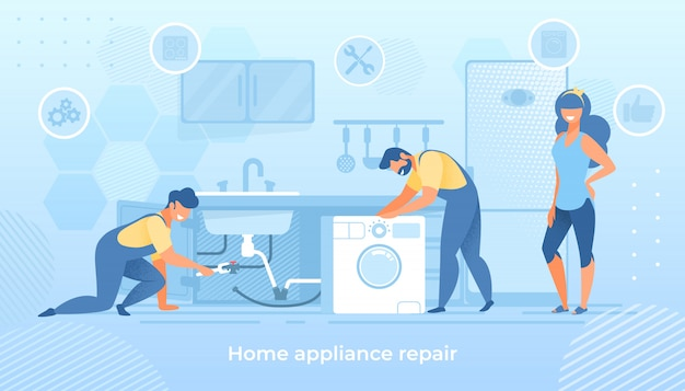 Radosne postacie mężczyzn naprawiające zepsutą technikę domową