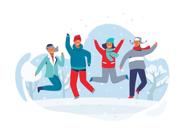 Radosne postacie przyjaciele skaczący w śniegu. ludzie w ciepłych ubraniach na wesołych zimowych wakacjach. mężczyzna i kobieta, zabawy na świeżym powietrzu.