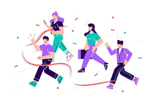 Radośni pracownicy biurowi lub urzędnicy przekraczający linię mety i rozrywający czerwoną wstążkę. pojęcie osób biorących udział w zawodowej rywalizacji, rywalizacja w pracy. ilustracja kreskówka nowoczesne mieszkanie