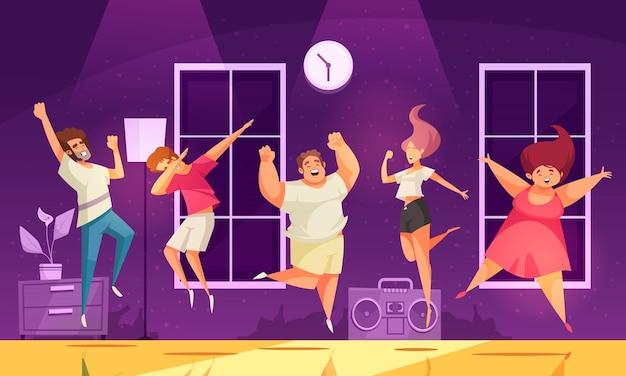 Radosni skaczący ludzie na imprezowej ilustracji