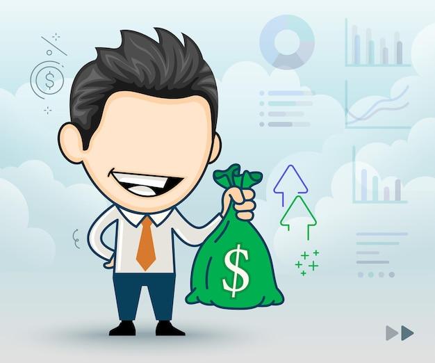 Radosny biznesmen trzymający worek pieniędzy ze znakiem dolara w stylu kreskówki
