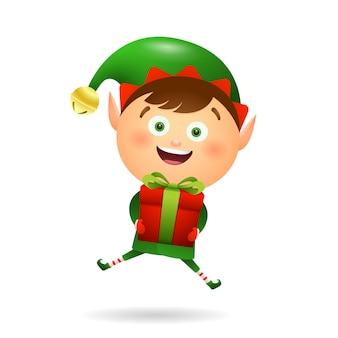 Radosny świąteczny elf trzyma prezent