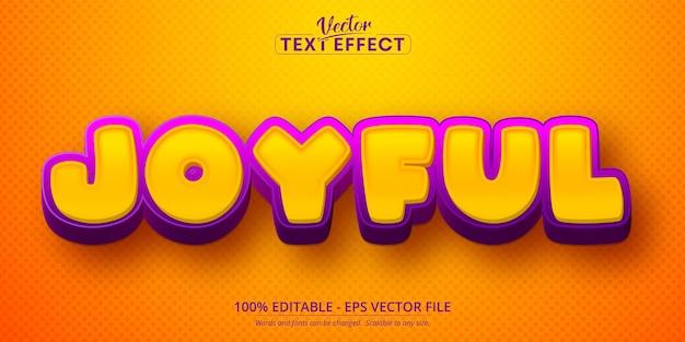 Radosny tekst, edytowalny efekt tekstowy 3d