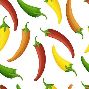 Radosny wzór papryki chili, bezproblemowa powtórka. ładne kolory, różnorodne tekstury, uproszczone kształty.