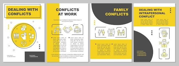 Radzenie sobie z konfliktami szablon żółtej broszury. zagadnienia relacji. ulotka, broszura, druk ulotek, projekt okładki z liniowymi ikonami. układy wektorowe do prezentacji, raportów rocznych, stron ogłoszeniowych