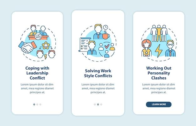 Radzenie sobie z konfliktami w zespole — dołączanie do ekranu strony aplikacji mobilnej. opis relacji w pracy 3 kroki instrukcje graficzne z koncepcjami. szablon wektorowy ui, ux, gui z liniowymi kolorowymi ilustracjami