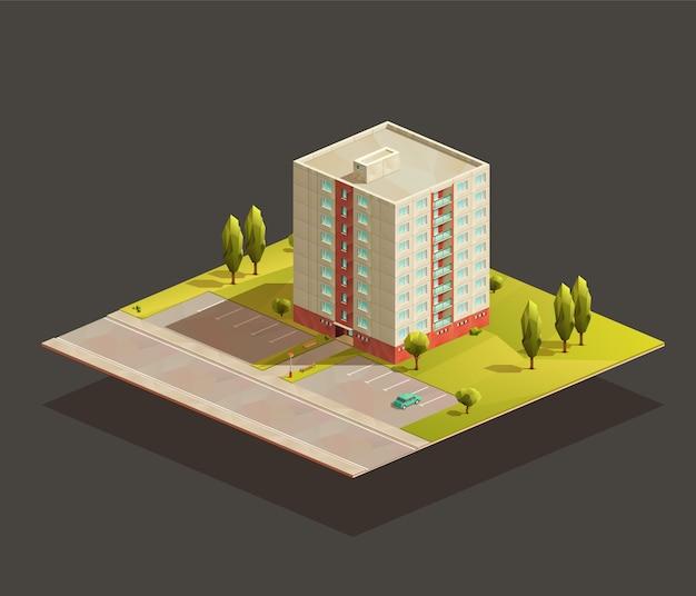 Radziecki blok mieszkalny izometryczny realistyczna ilustracja