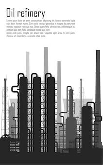 Rafineria ropy naftowej i gazu lub zakład chemiczny na białym tle. ilustracja wektorowa.