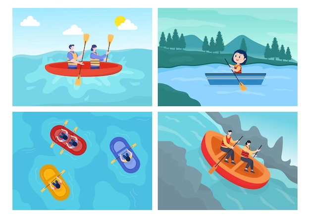 Rafting, kajakarstwo, spływy kajakowe w rzece ilustracji wektorowych