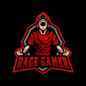 Rage gamer maskotka logo esport gaming