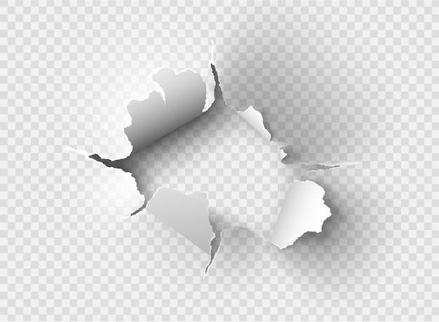 Ragged hole rozdarty w zgrywanie papieru na przezroczystym tle