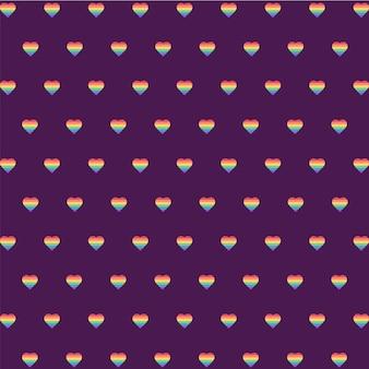 Rainbow mini serce wzór tła, lgbt, pride day, projekt serca, serce tapeta