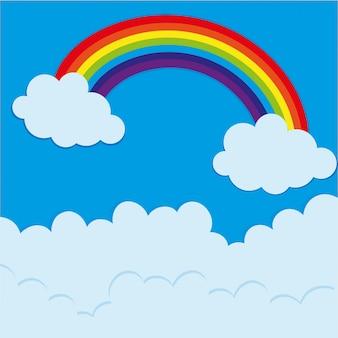 Rainbow na niebie w porze dziennej
