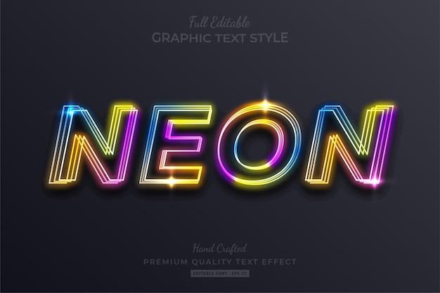 Rainbow neon edytowalny styl czcionki efektu tekstowego
