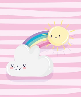 Rainbow słońce chmura kreskówka dekoracji różowe paski tło wektor ilustracja