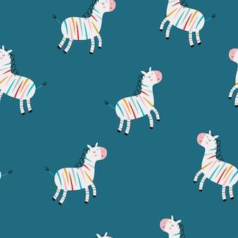Rainbow zebra dla dzieci wzór z płaską ilustracją wektorową zebra tło dla dzieci