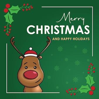 Raindeer świąteczny plakat z zielonym bg