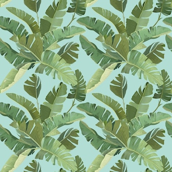 Rainforest Dekoracyjna Tapeta Ozdoba Z Zielonymi Tropikalnymi Liśćmi Palmowymi I Gałęziami. Papier, Projektowanie Tkanin, Wzór, Botaniczny Nadruk Zwrotnikowy Na Niebieskim Tle. Ilustracja Wektorowa Premium Wektorów