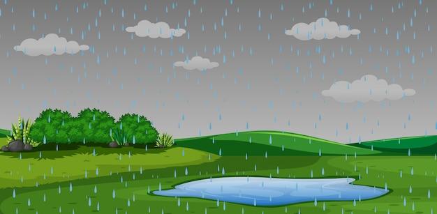 Raining outdor park scene