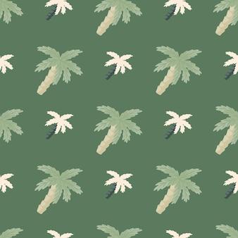 Raj natura wzór z ornamentem palm kokosowych w prostym stylu. zielona grafika w bladych kolorach.