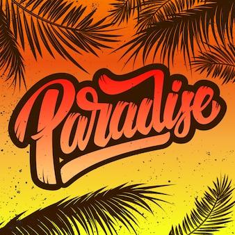 Raj. szablon plakatu z napisem i palmami. ilustracja
