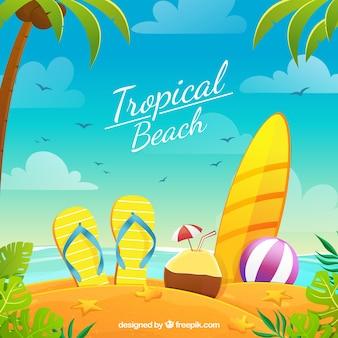 Rajska tropikalna plaża z płaskim projektem