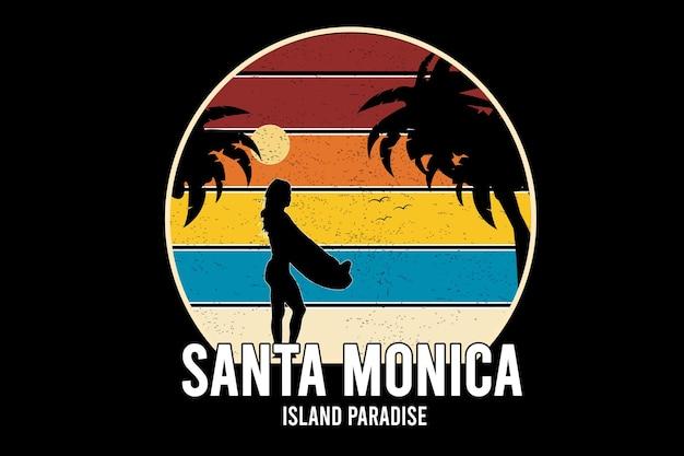Rajska wyspa santa monica kolor czerwony pomarańczowy i żółty niebieski