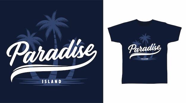 Rajska wyspa z projektem koszulki z palmami