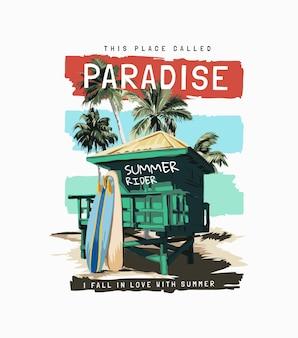 Rajski slogan z plażową chatką i deskami surfingowymi na kolorowym tle w paski