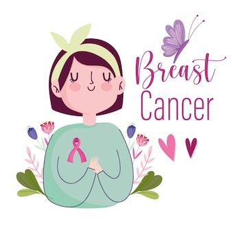 Rak piersi młoda kobieta kreskówka z wstążką motyl serca ilustracji