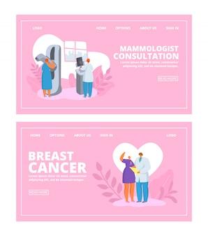 Rak piersi świadomości ludzi z lekarzem kobietą sprawdza pacjenta kobieta, konsultacje mammologiczne banery zestaw ilustracji.