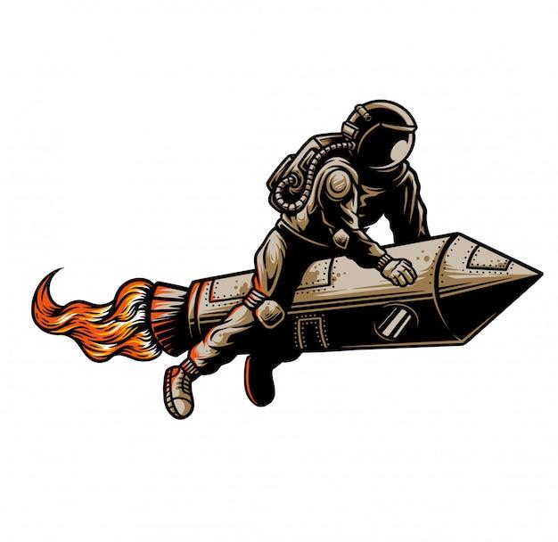 Rakieta i astronauta ilustracja