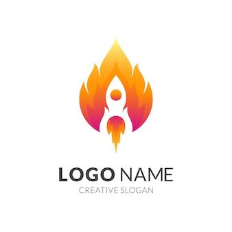 Rakieta i ogień, kombinacja logo w kolorze czerwonym i żółtym 3d