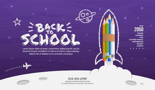 Rakieta kolorowych ołówków wystrzeliwująca w kosmiczne tło, witamy z powrotem w koncepcji szkoły