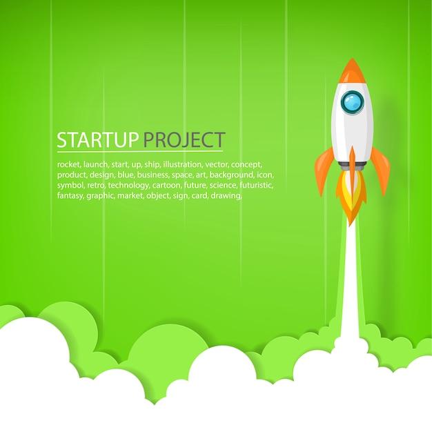 Rakieta kosmiczna do nieba w koncepcji uruchomienia biznesu lub projektu.