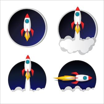 Rakieta kosmiczna ikona modelu uruchomienia i płomień na tle nocnego nieba i dymu.