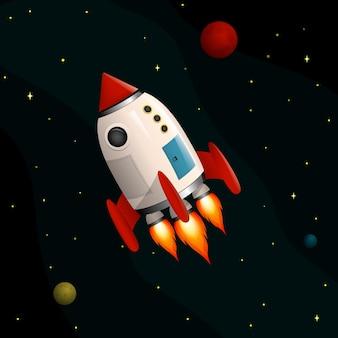 Rakieta kosmiczna leci w kosmosie. w tle gwiazdy i planety.