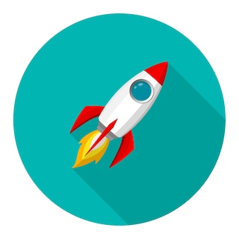 Rakieta kosmiczna model ikona i płomień. logo lub baner
