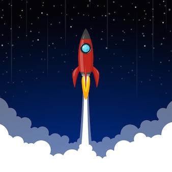 Rakieta kosmiczna na nocne niebo, gwiazdy i chmury na tle.