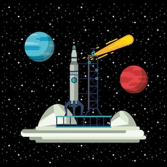 Rakieta kosmiczna na stacji