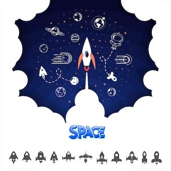 Rakieta kosmiczna. nauka i wahadłowiec, planety na orbicie iw kosmosie, startupy. ilustracji wektorowych