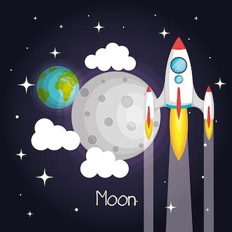 Rakieta kosmiczna pływające w przestrzeni z księżyca ziemi i chmury gwiazd