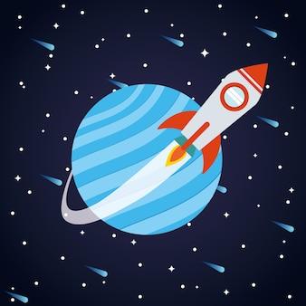 Rakieta kosmiczna przed planetą na gwiaździstym tle o tematyce futurystycznej i kosmicznej