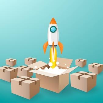 Rakieta kosmiczna wystrzeliwuje z pudełka do nieba, a wiele zamkniętych pudełek w tle.